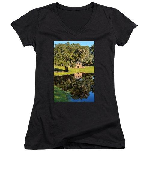 Rice Mill  Pond Reflection Women's V-Neck