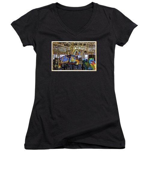 Ride A Painted Pony - Coney Island 2013 - Brooklyn - New York Women's V-Neck T-Shirt (Junior Cut) by Madeline Ellis