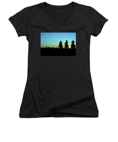Ride 'em Cowboy Women's V-Neck T-Shirt (Junior Cut) by Andrea Kollo