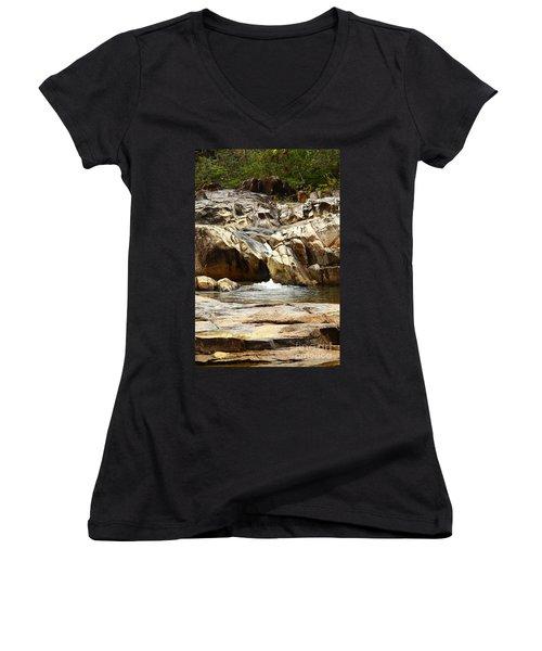 Rio On Pools Women's V-Neck T-Shirt (Junior Cut) by Kathy McClure
