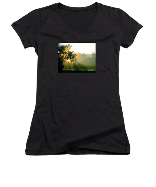 Rise And Shine Women's V-Neck T-Shirt (Junior Cut) by Sue Stefanowicz