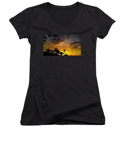 Women's V-Neck T-Shirt (Junior Cut) featuring the photograph Rise by Chris Tarpening