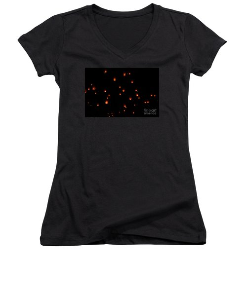 Rise Festival Lanterns 2014 Horizontal Sky Only Number One Women's V-Neck T-Shirt (Junior Cut) by Heather Kirk