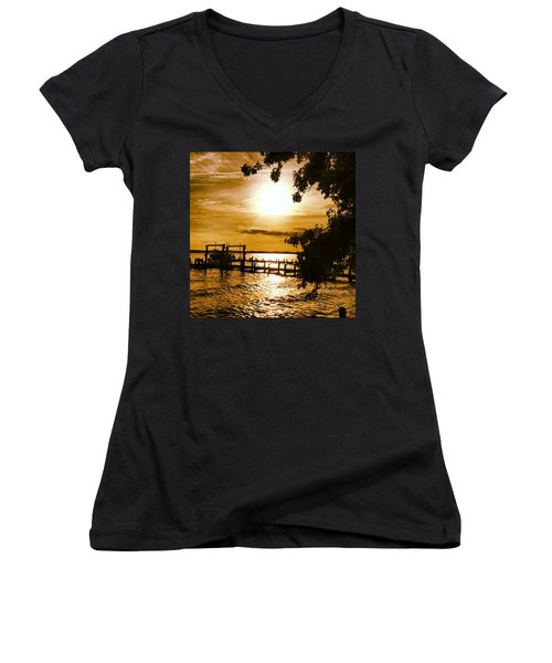 River Acres Jaynes Sunset Women's V-Neck (Athletic Fit)