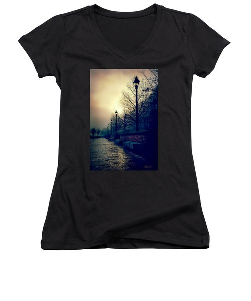 River Street Solitude Women's V-Neck T-Shirt (Junior Cut) by Renee Sullivan