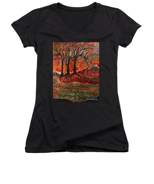 River Sunrise - Lothlorien Women's V-Neck (Athletic Fit)