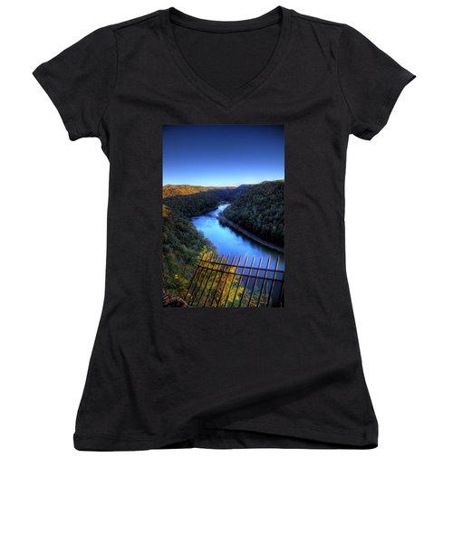 Women's V-Neck T-Shirt (Junior Cut) featuring the photograph River Through A Valley by Jonny D