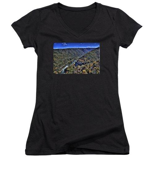 River Through The Hills Women's V-Neck T-Shirt (Junior Cut) by Jonny D