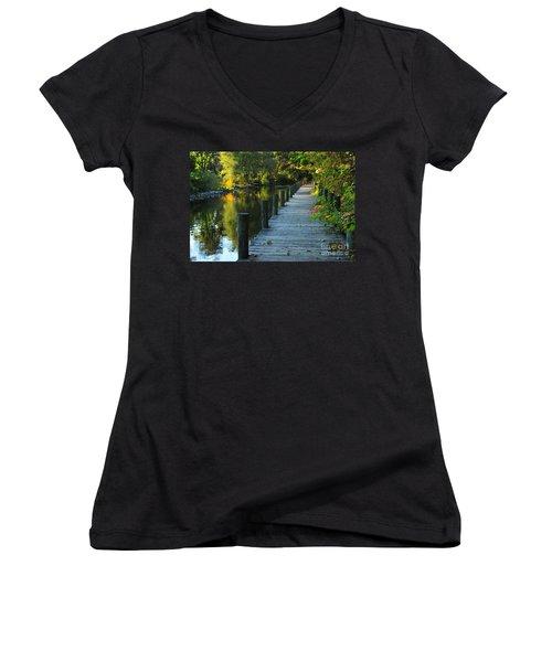 Women's V-Neck T-Shirt (Junior Cut) featuring the photograph River Walk In Traverse City Michigan by Terri Gostola