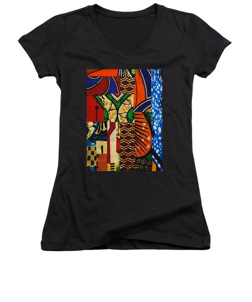 Women's V-Neck T-Shirt (Junior Cut) featuring the tapestry - textile Riverbank by Apanaki Temitayo M