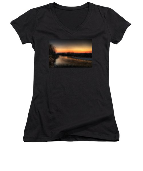 Riverscape At Sunset Women's V-Neck (Athletic Fit)