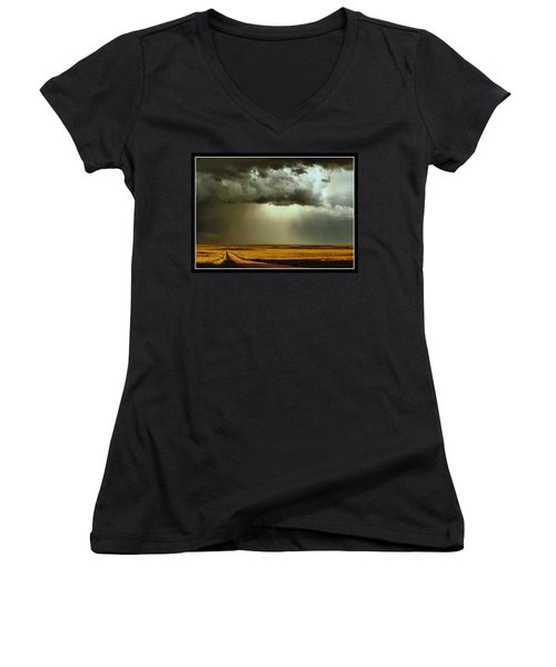 Road Into The Storm Women's V-Neck (Athletic Fit)