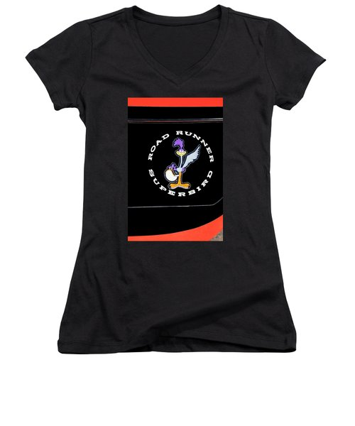 Road Runner Superbird Emblem Women's V-Neck T-Shirt (Junior Cut) by Jill Reger