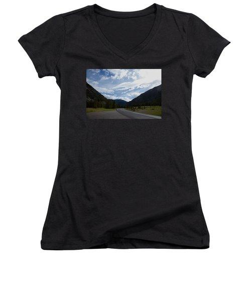 Road Through The Mountains Women's V-Neck