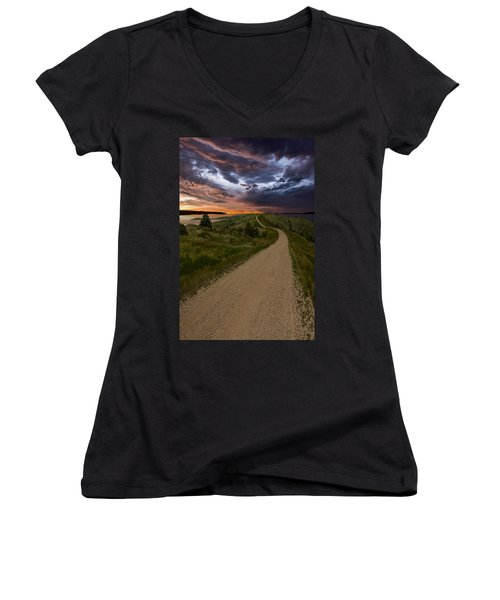Road To Nowhere - Stormy Little Bend Women's V-Neck
