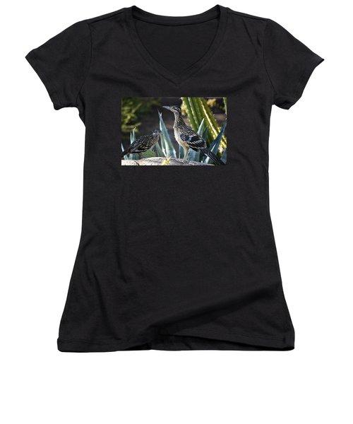 Roadrunners At Play  Women's V-Neck T-Shirt
