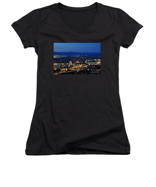 Roanoke City As Seen From Mill Mountain Star At Dusk In Virginia Women's V-Neck T-Shirt
