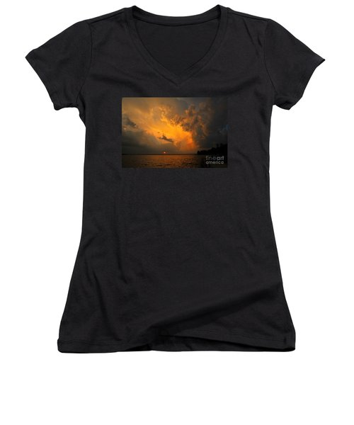 Women's V-Neck T-Shirt (Junior Cut) featuring the photograph Roar Of The Heavens by Terri Gostola