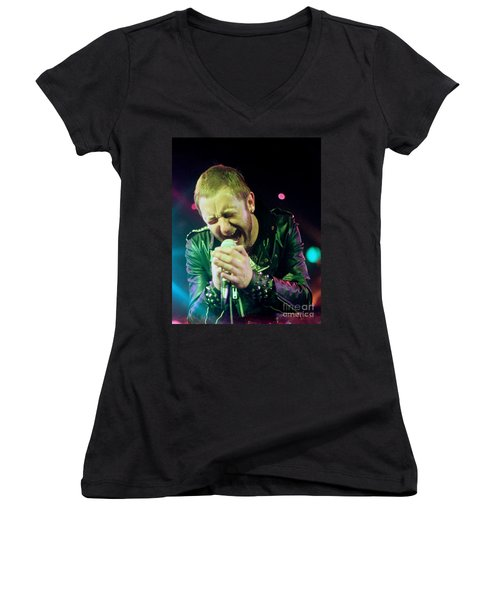 Rob Halford Of Judas Priest Without Flames Effect- Warfield Theater During British Steel-unreleased  Women's V-Neck (Athletic Fit)