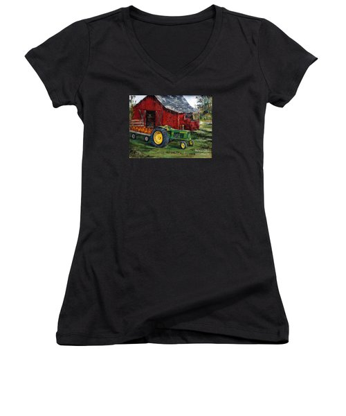 Rob Smith's Tractor Women's V-Neck T-Shirt (Junior Cut) by Lee Piper