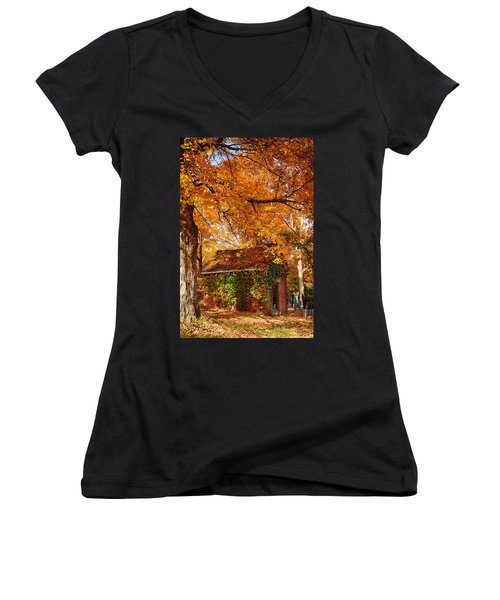 Women's V-Neck T-Shirt (Junior Cut) featuring the photograph Rock Of Ages Surrouded By Color by Jeff Folger