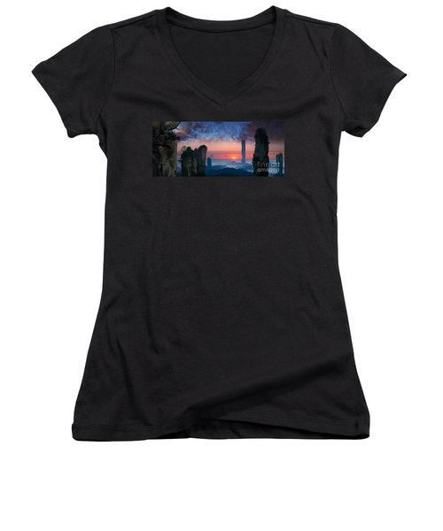 Rock Towers Women's V-Neck T-Shirt
