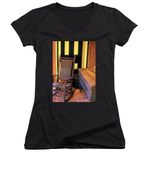 Rocking Chair And Woodbox Women's V-Neck (Athletic Fit)