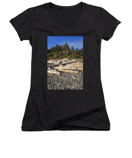 Rocky Beach And Driftwood Women's V-Neck (Athletic Fit)