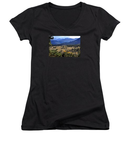 Women's V-Neck T-Shirt (Junior Cut) featuring the photograph Rocky Mountain Evening by Nava Thompson