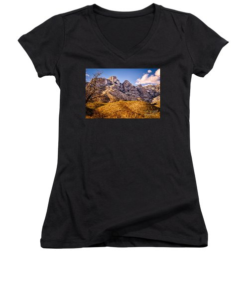 Women's V-Neck T-Shirt (Junior Cut) featuring the photograph Rocky Peaks by Mark Myhaver