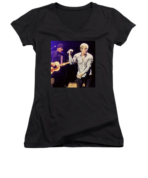 Women's V-Neck T-Shirt (Junior Cut) featuring the photograph Roger Daltrey And The Who by Melinda Saminski
