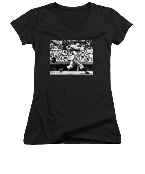 Roger Maris Hits 52nd Home Run Women's V-Neck T-Shirt (Junior Cut) by Underwood Archives