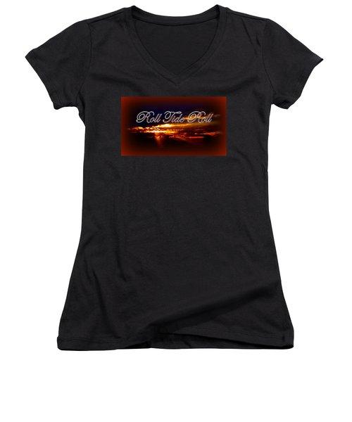 Roll Tide Roll W Red Border - Alabama Women's V-Neck T-Shirt (Junior Cut) by Travis Truelove