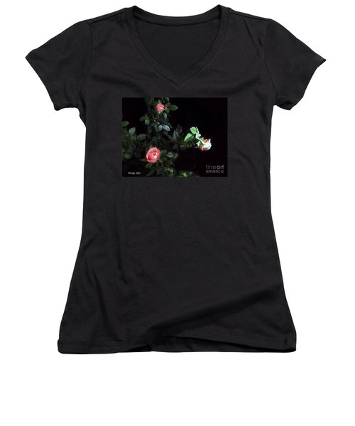 Romance Of The Roses Women's V-Neck T-Shirt (Junior Cut) by Becky Lupe