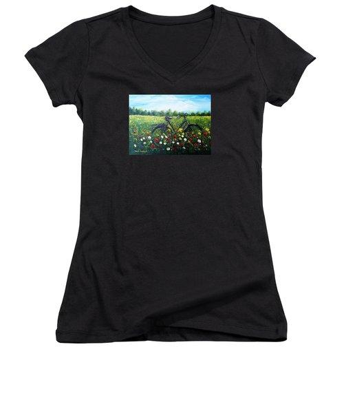 Romantic Break Women's V-Neck T-Shirt (Junior Cut) by Vesna Martinjak