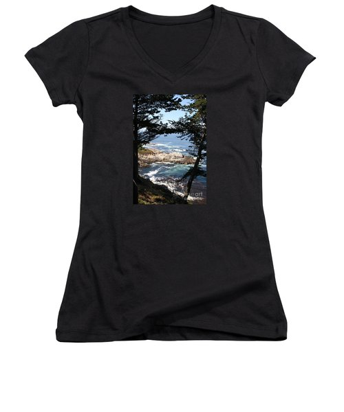 Romantic California Coast Women's V-Neck T-Shirt (Junior Cut) by Christiane Schulze Art And Photography