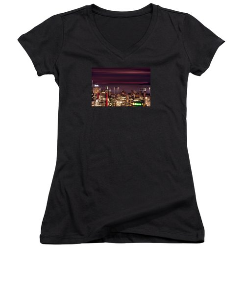 Women's V-Neck T-Shirt (Junior Cut) featuring the photograph Romantic English Bay Mdcci by Amyn Nasser