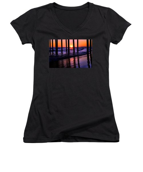 Women's V-Neck T-Shirt (Junior Cut) featuring the photograph Romantic Stroll by Tammy Espino