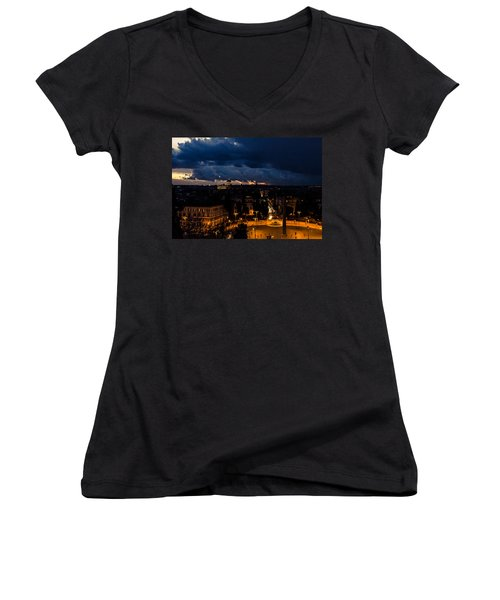 Rome Cityscape At Night  Women's V-Neck