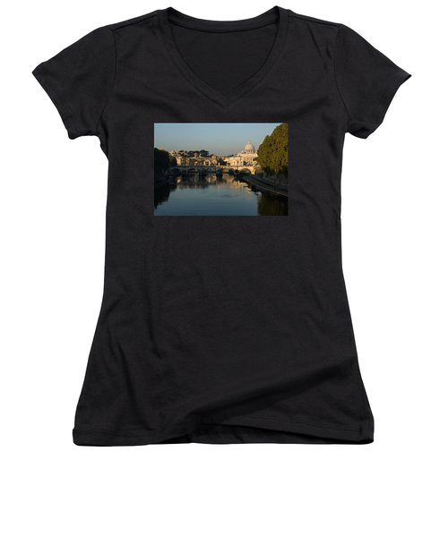 Rome - Iconic View Of Saint Peter's Basilica Reflecting In Tiber River Women's V-Neck