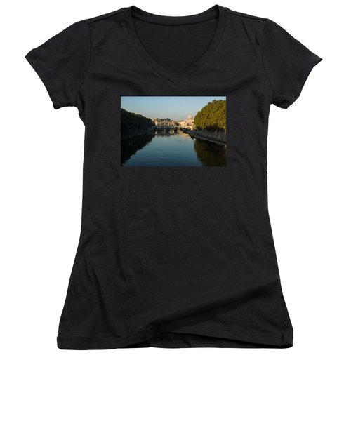Women's V-Neck T-Shirt (Junior Cut) featuring the photograph Rome Waking Up by Georgia Mizuleva