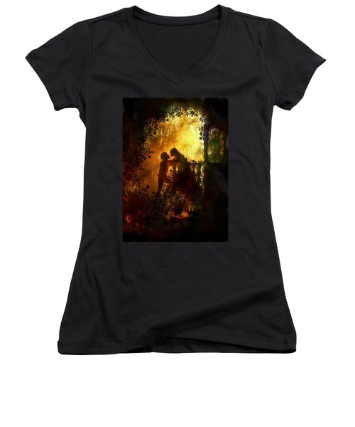 Romeo And Juliet - The Love Story Women's V-Neck T-Shirt (Junior Cut) by Lilia D