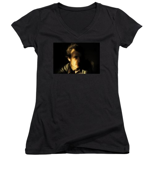 Women's V-Neck T-Shirt (Junior Cut) featuring the digital art Ron Harpham by Ron Harpham