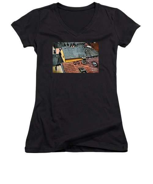 Women's V-Neck T-Shirt (Junior Cut) featuring the photograph Rooftops by Nick  Biemans