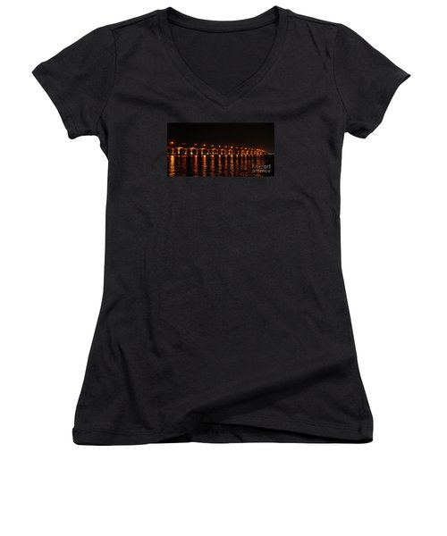 Women's V-Neck T-Shirt (Junior Cut) featuring the photograph Roosevelt Bridge Panorama by Olga Hamilton