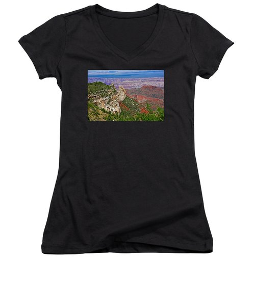 Roosevelt Point Two On North Rim/grand Canyon National Park-arizona   Women's V-Neck T-Shirt