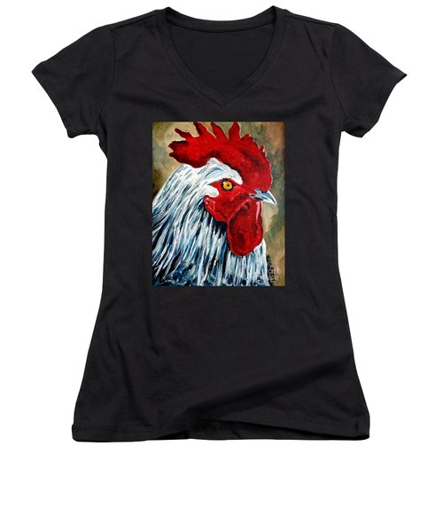 Women's V-Neck T-Shirt (Junior Cut) featuring the painting Rooster Doodle by Julie Brugh Riffey