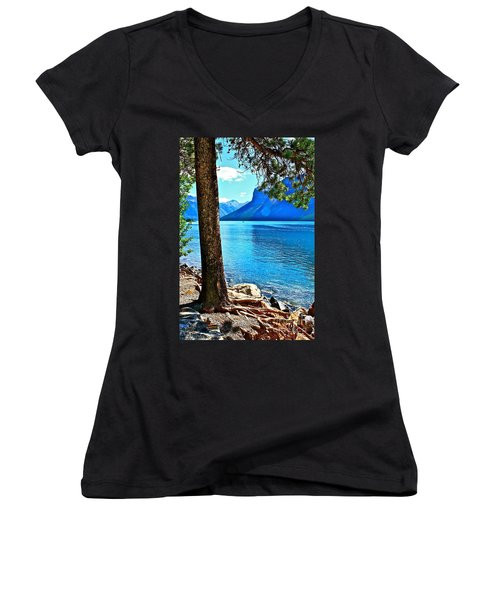 Women's V-Neck T-Shirt (Junior Cut) featuring the photograph Rooted In Lake Minnewanka by Linda Bianic