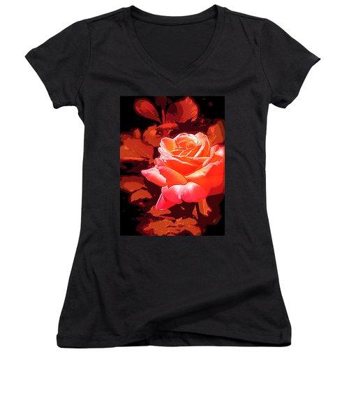 Women's V-Neck T-Shirt (Junior Cut) featuring the photograph Rose 1 by Pamela Cooper