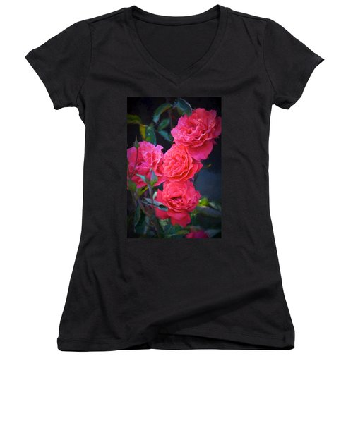 Rose 138 Women's V-Neck T-Shirt (Junior Cut) by Pamela Cooper